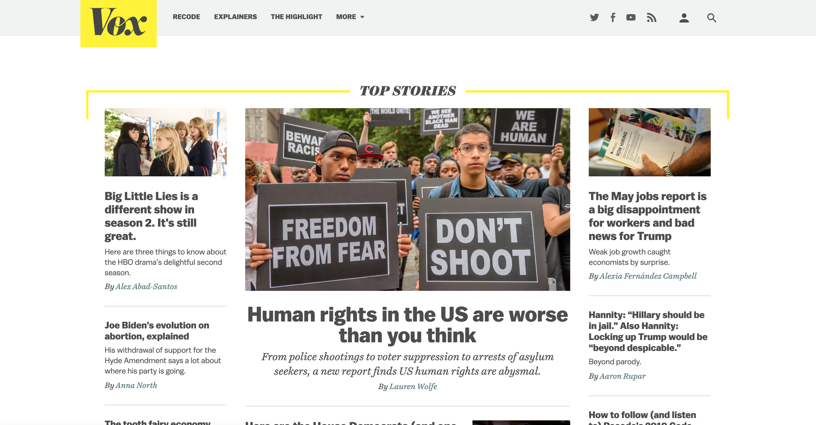 Screenshot showing article on HRMI on the front page of Vox